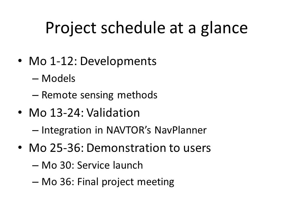 Project schedule at a glance