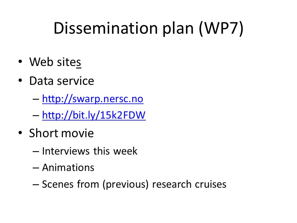 Dissemination plan (WP7)