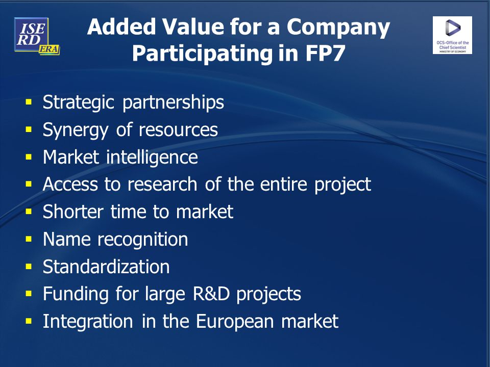 Added Value for a Company Participating in FP7