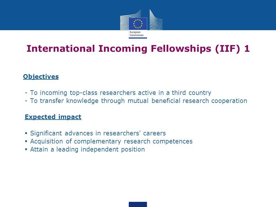 International Incoming Fellowships (IIF) 1