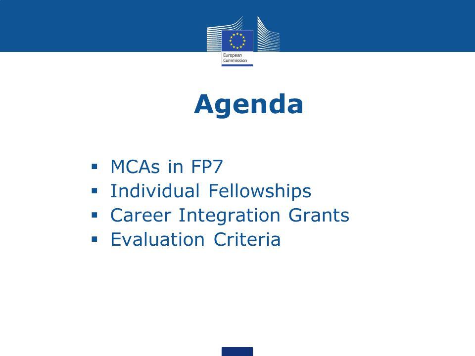 Agenda MCAs in FP7 Individual Fellowships Career Integration Grants