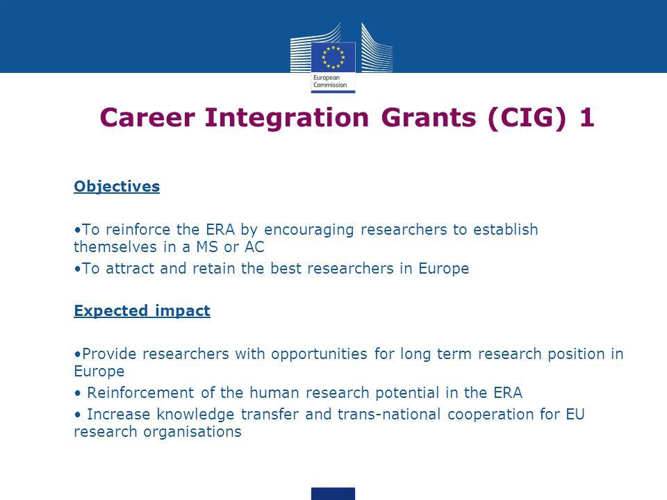 Career Integration Grants (CIG) 1