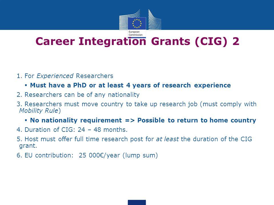 Career Integration Grants (CIG) 2