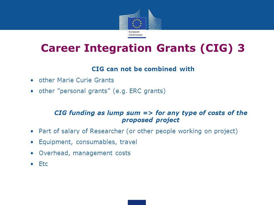 Career Integration Grants (CIG) 3 e Host perspective