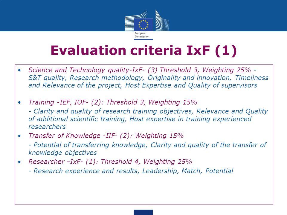 Evaluation criteria IxF (1)