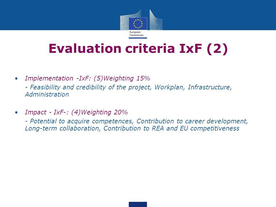 Evaluation criteria IxF (2)