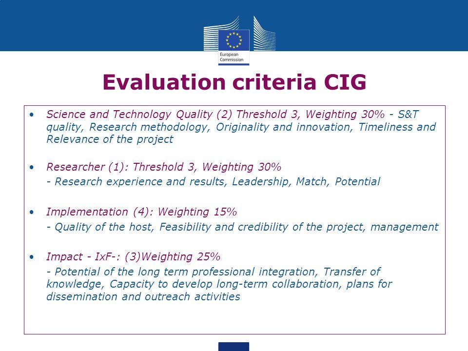 Evaluation criteria CIG