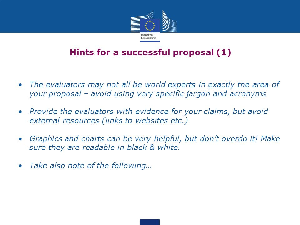 Hints for a successful proposal (1)