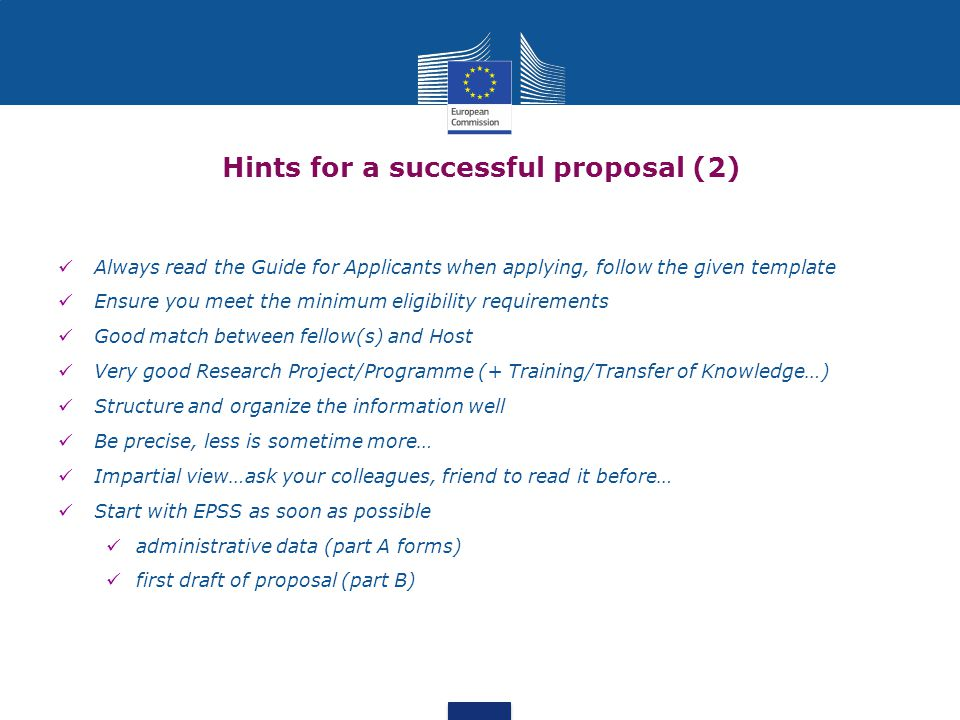 Hints for a successful proposal (2)