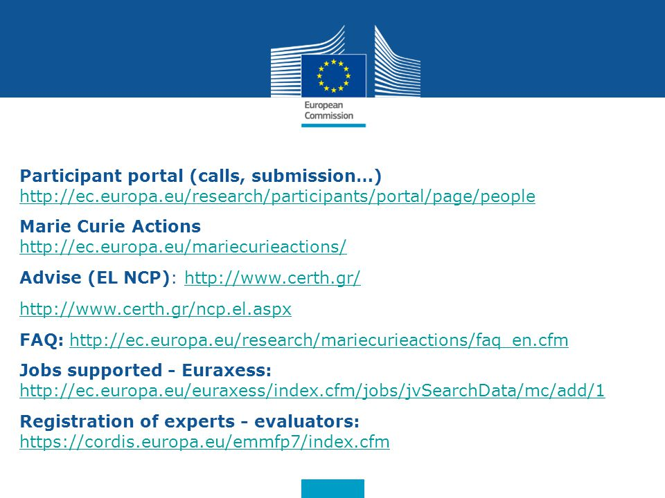 Participant portal (calls, submission…)