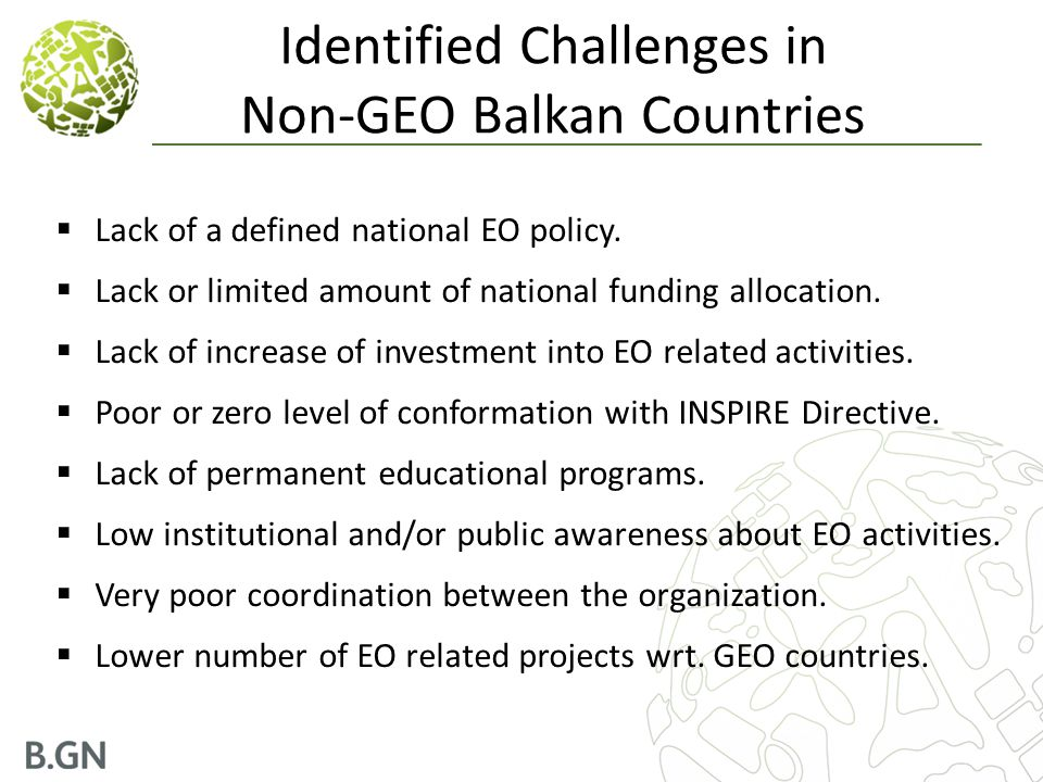 Identified Challenges in Non-GEO Balkan Countries