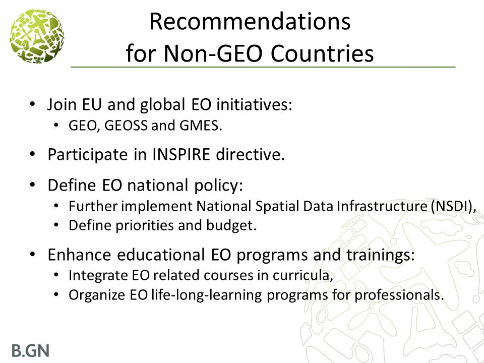 Recommendations for Non-GEO Countries