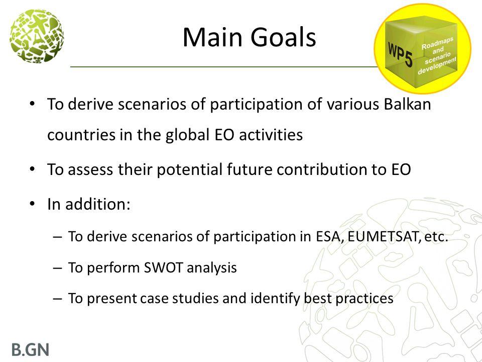 Main Goals To derive scenarios of participation of various Balkan countries in the global EO activities.