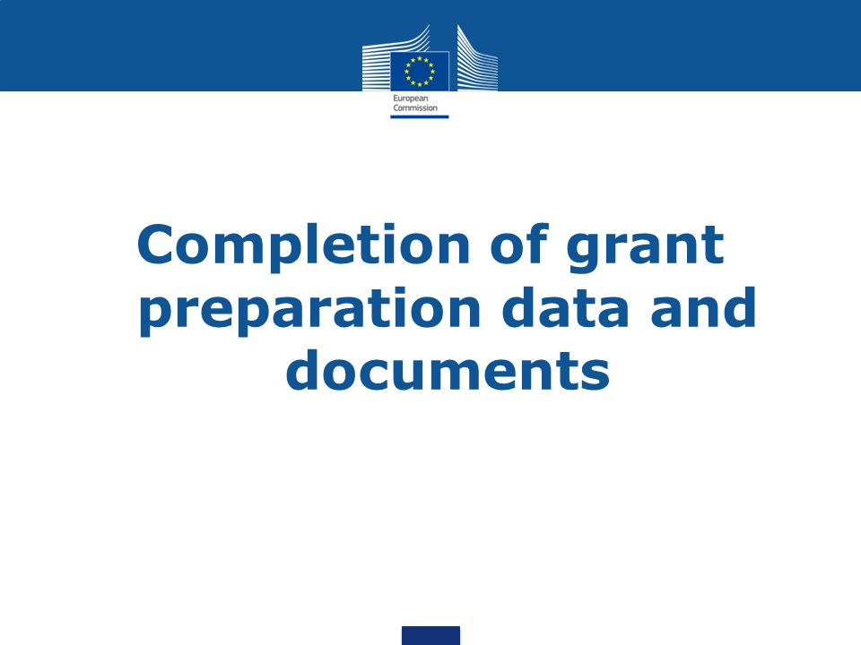 Completion of grant preparation data and documents