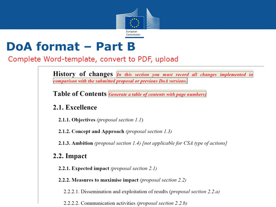 DoA format – Part B Complete Word-template, convert to PDF, upload