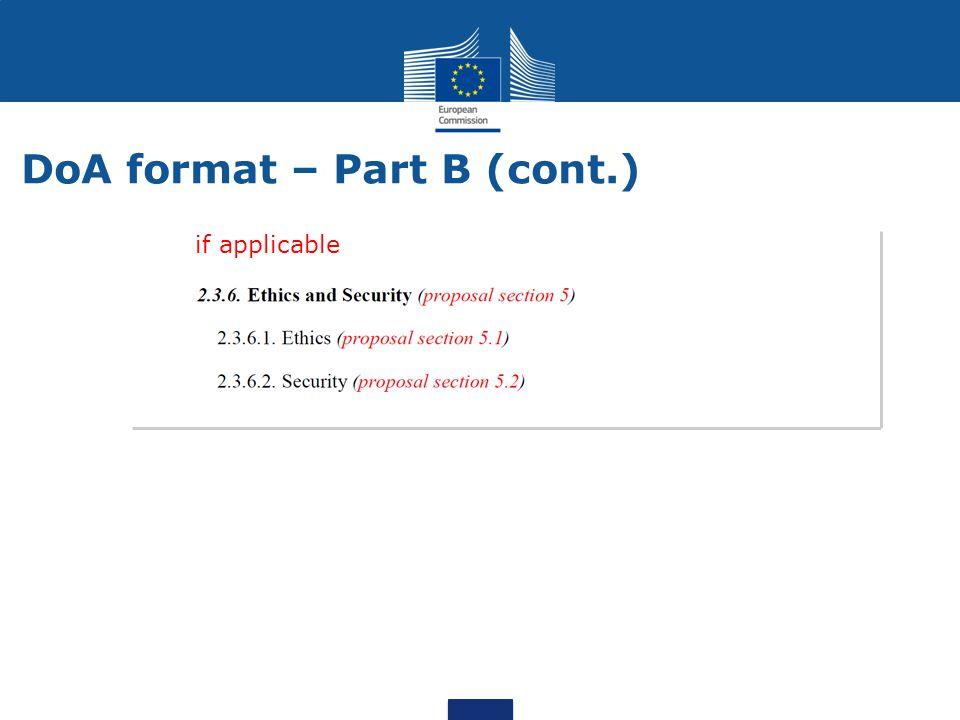 DoA format – Part B (cont.)