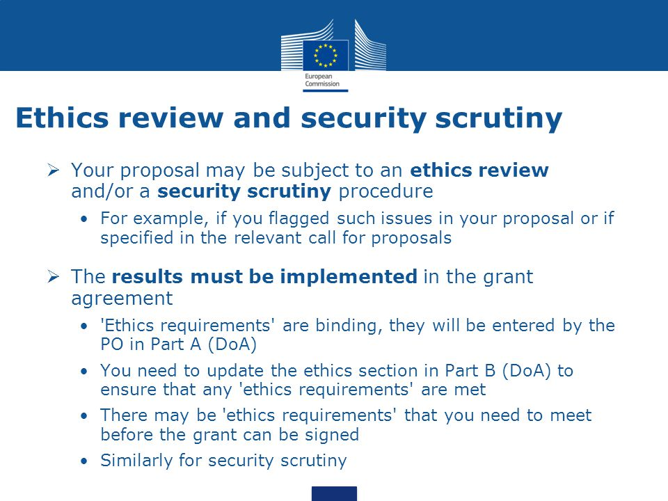 Ethics review and security scrutiny