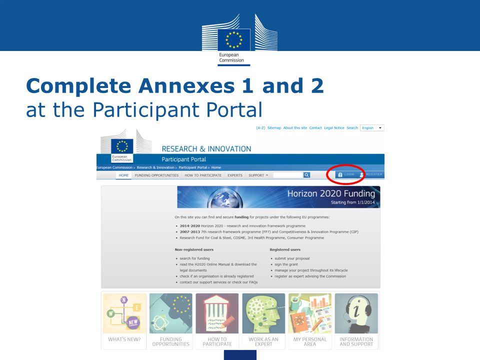 Complete Annexes 1 and 2 at the Participant Portal