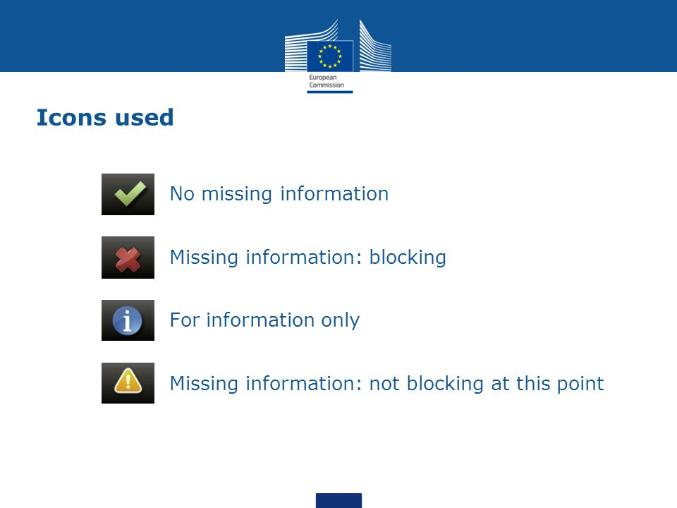 Icons used No missing information Missing information: blocking