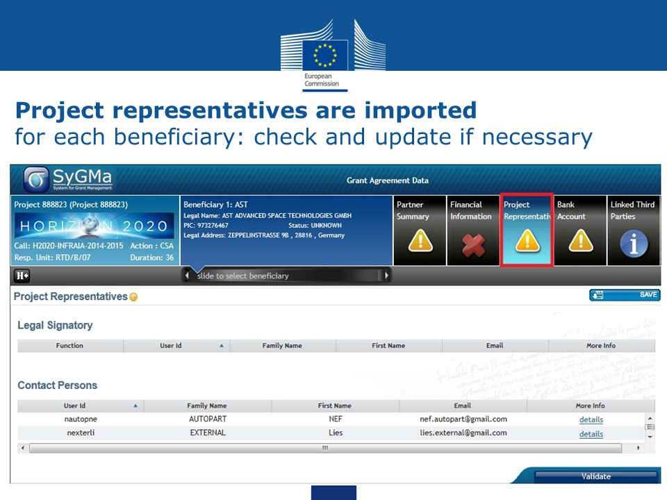Project representatives are imported