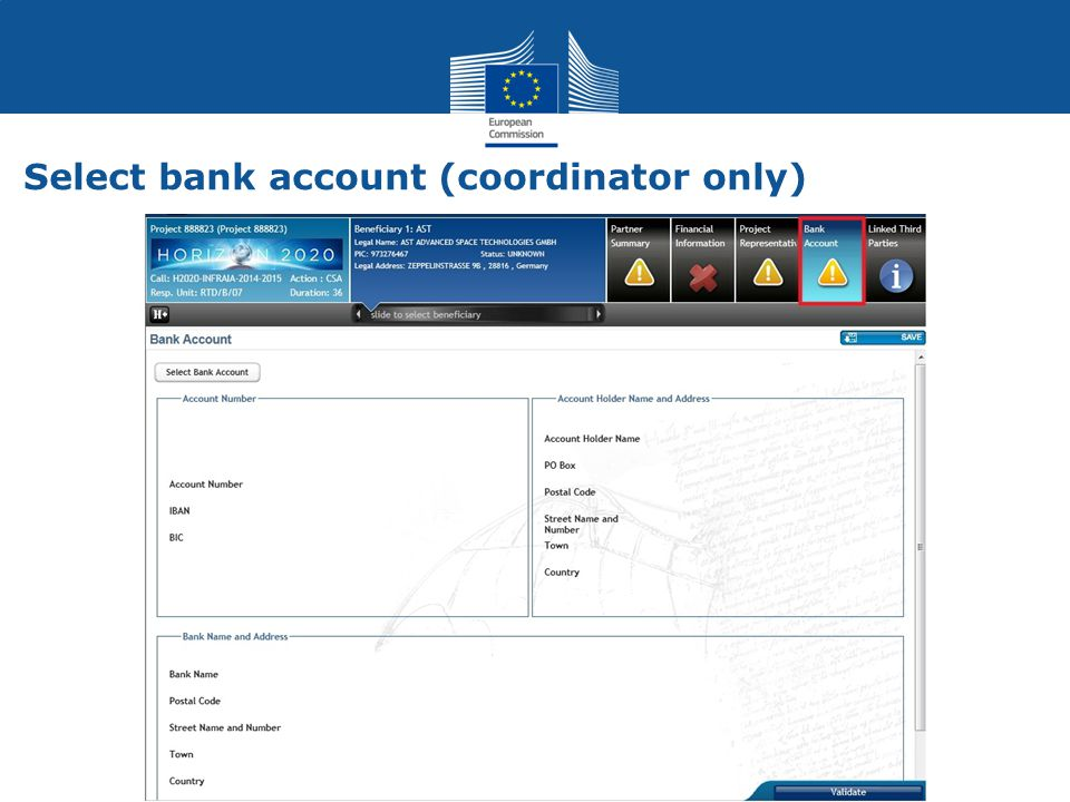 Select bank account (coordinator only)