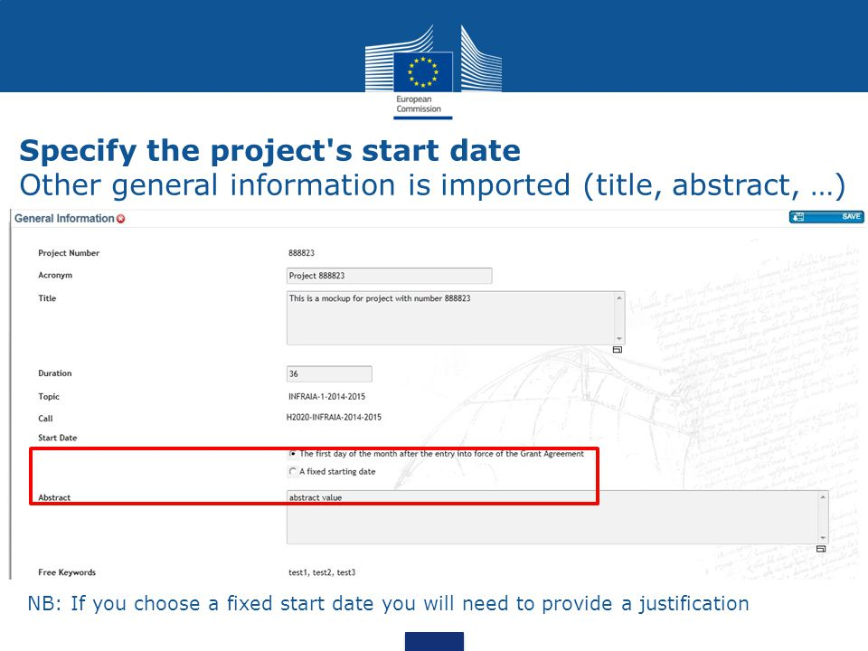 Specify the project s start date