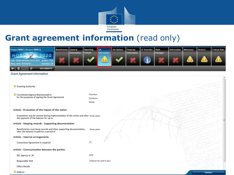 Grant agreement information (read only)
