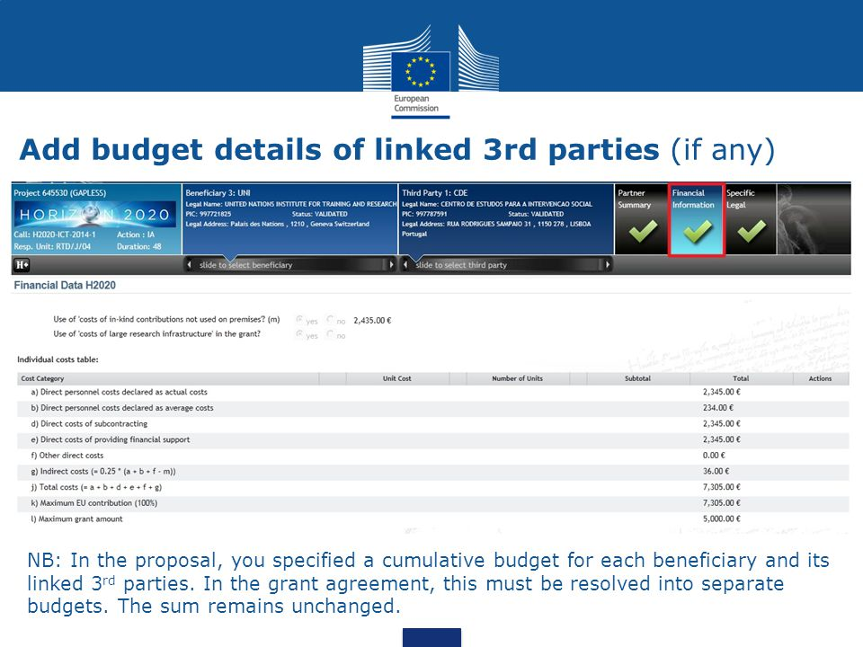 Add budget details of linked 3rd parties (if any)