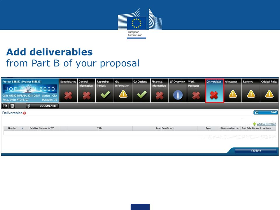Add deliverables from Part B of your proposal