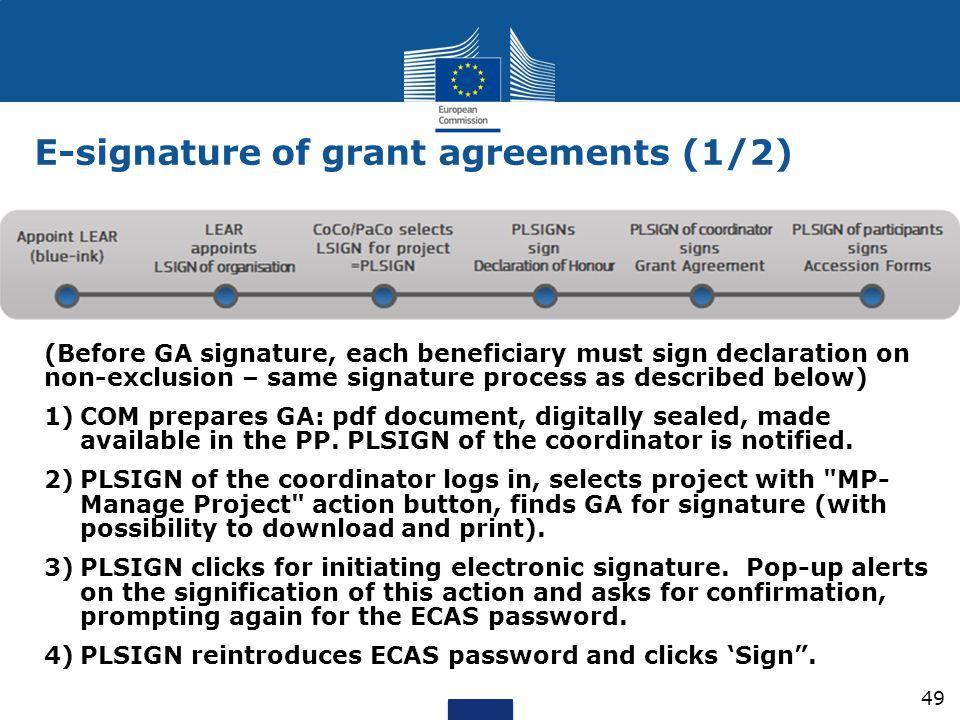 E-signature of grant agreements (1/2)