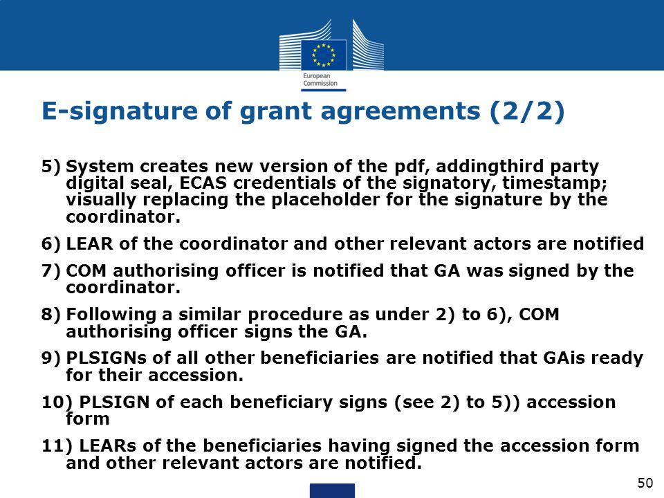 E-signature of grant agreements (2/2)