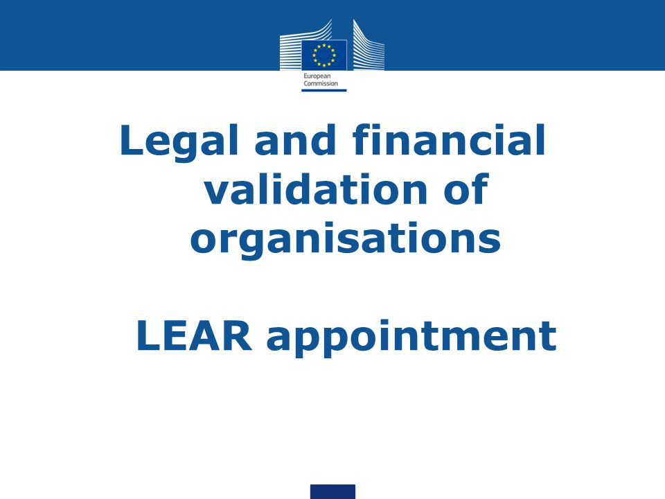 Legal and financial validation of organisations LEAR appointment