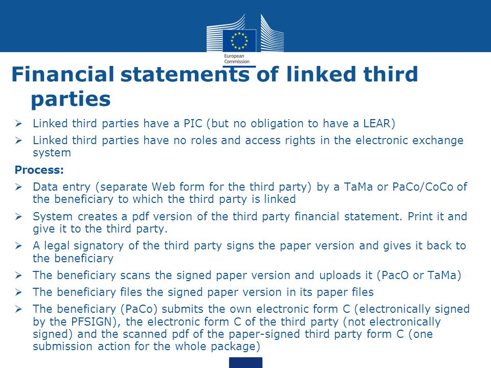 Financial statements of linked third parties