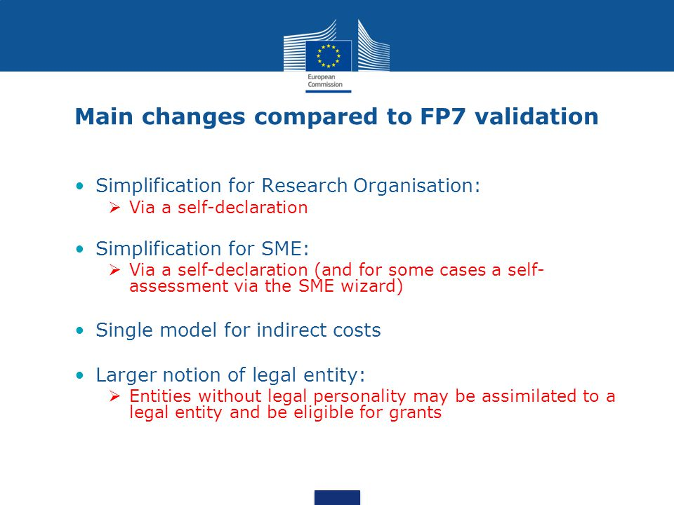 Main changes compared to FP7 validation
