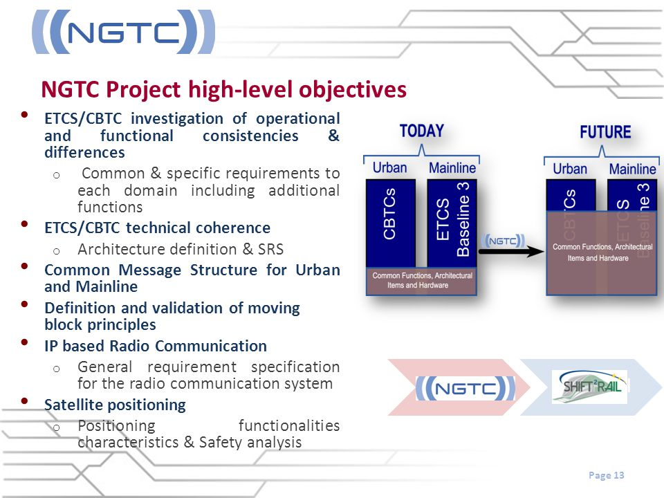 NGTC Project high-level objectives