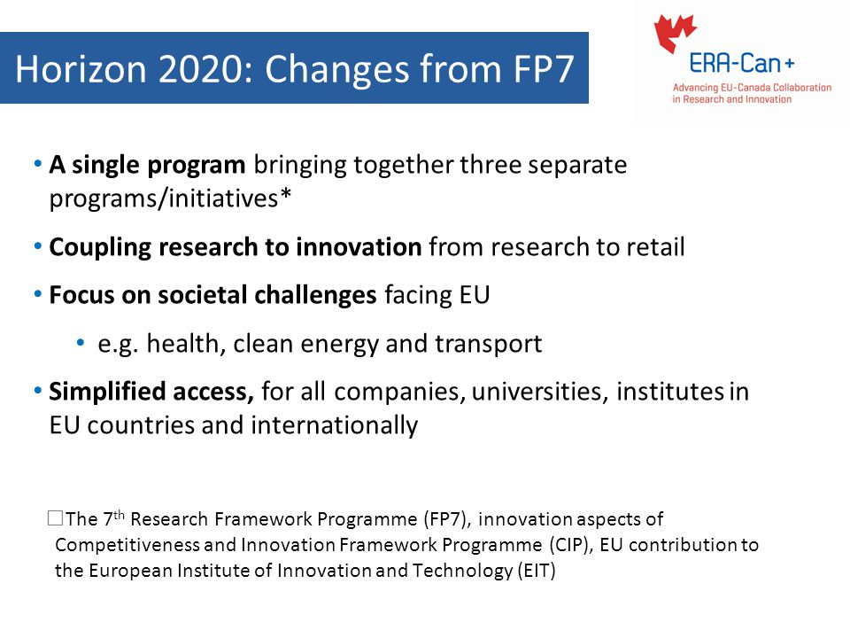 Horizon 2020: Changes from FP7