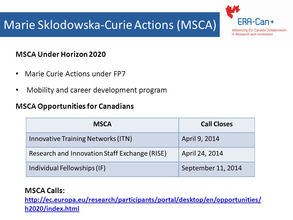 Marie Sklodowska-Curie Actions (MSCA)