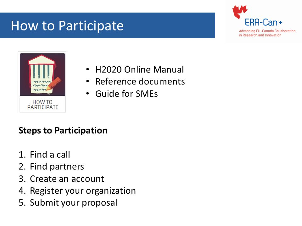 How to Participate H2020 Online Manual Reference documents