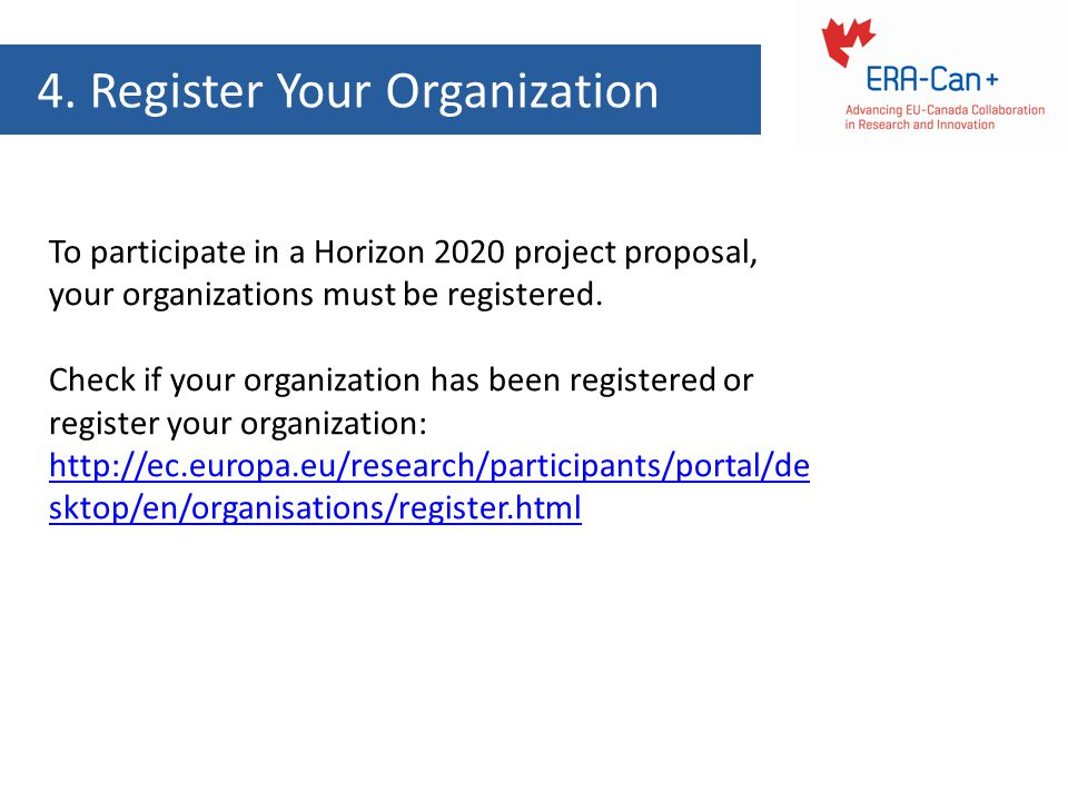 4. Register Your Organization