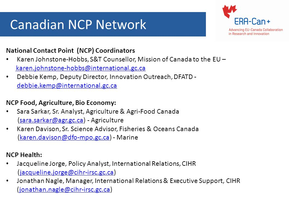 Canadian NCP Network National Contact Point (NCP) Coordinators