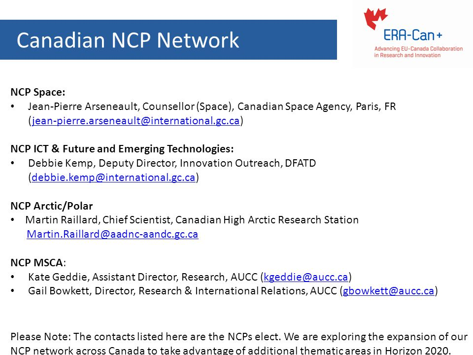 Canadian NCP Network NCP Space: