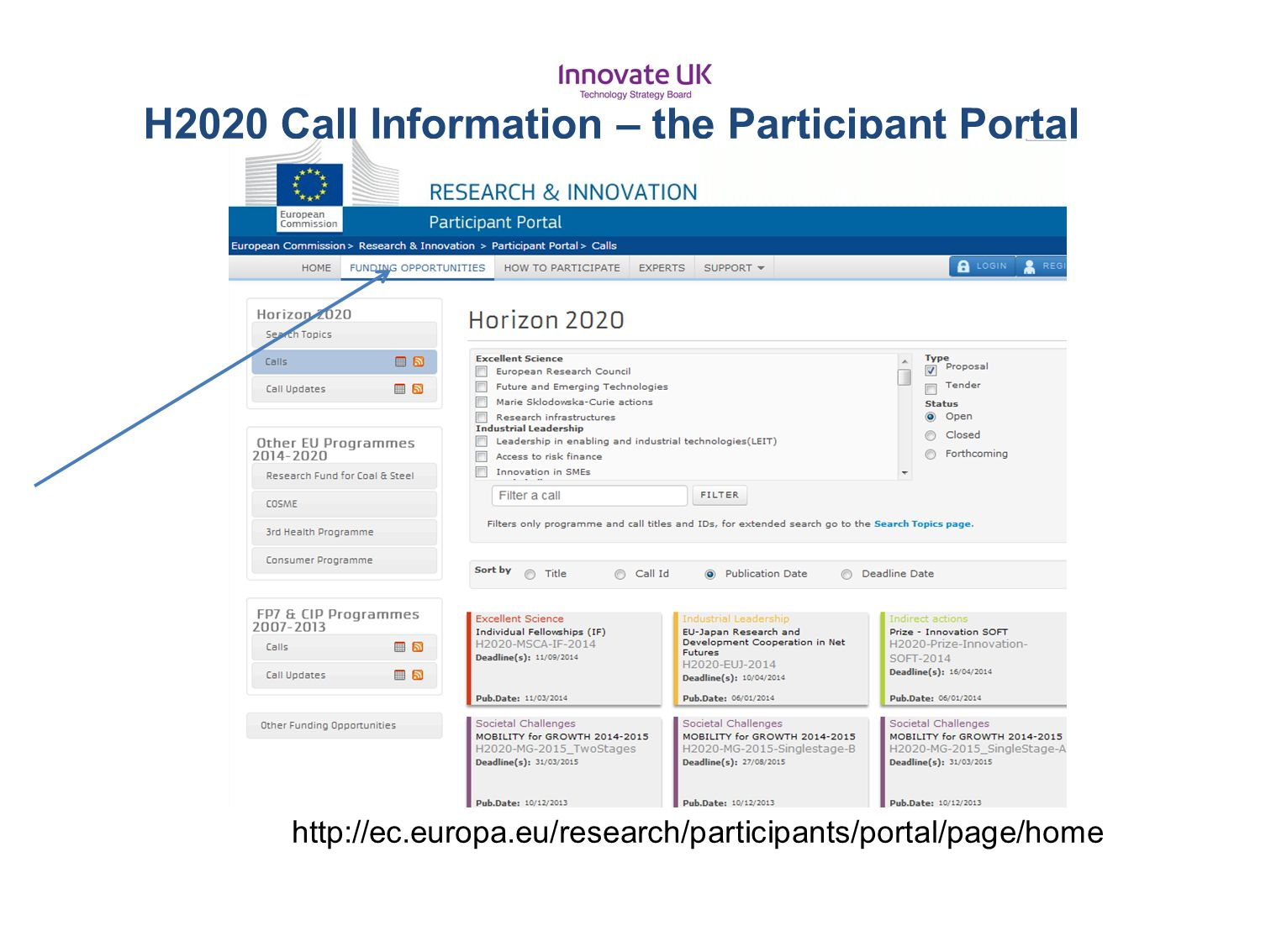 H2020 Call Information – the Participant Portal
