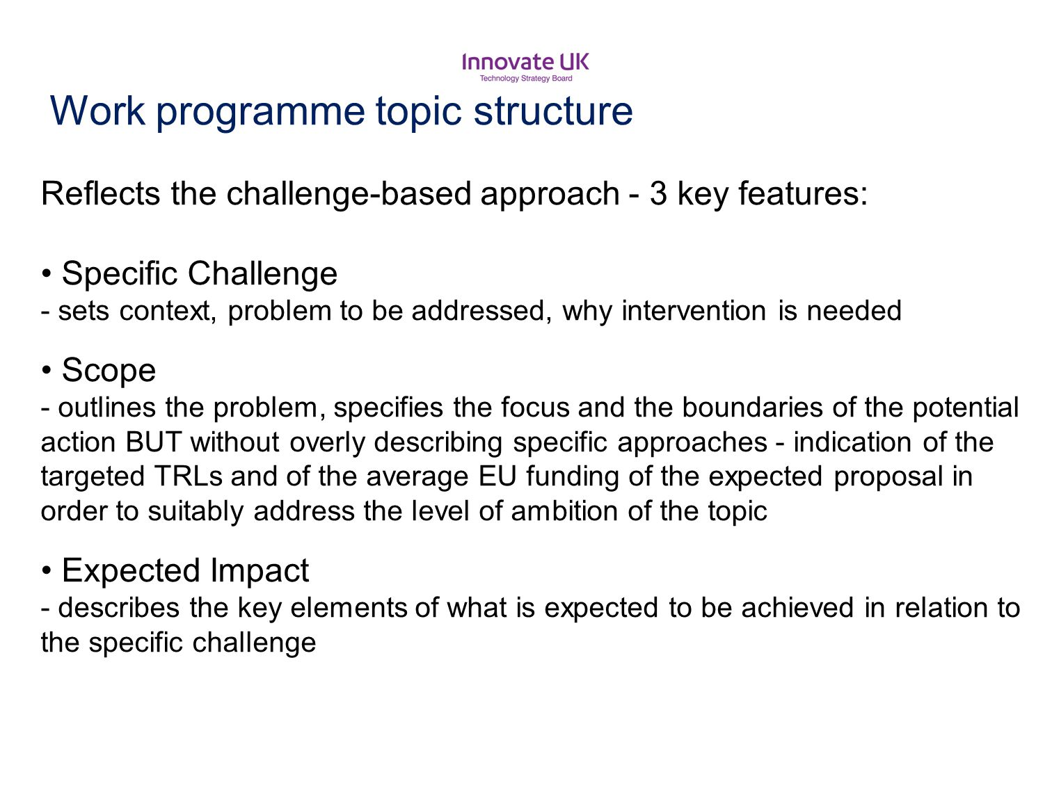 Work programme topic structure