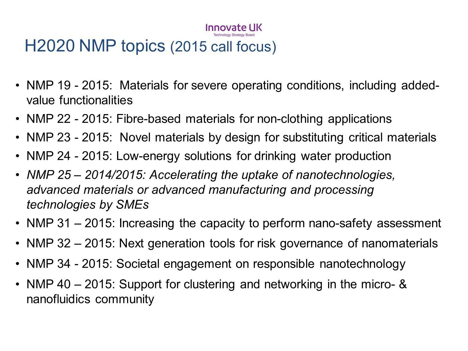 H2020 NMP topics (2015 call focus)