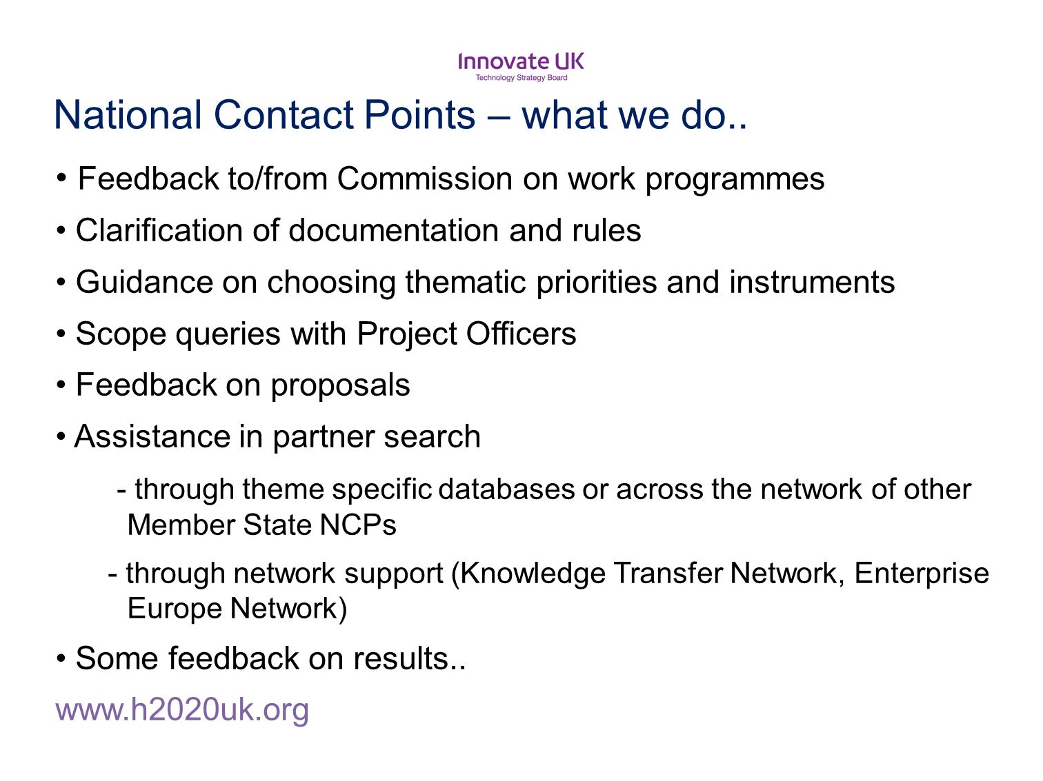 National Contact Points – what we do..