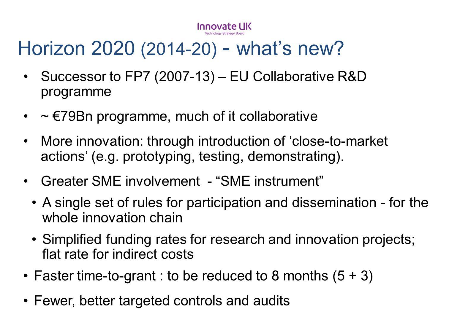 Horizon 2020 (2014-20) - what's new