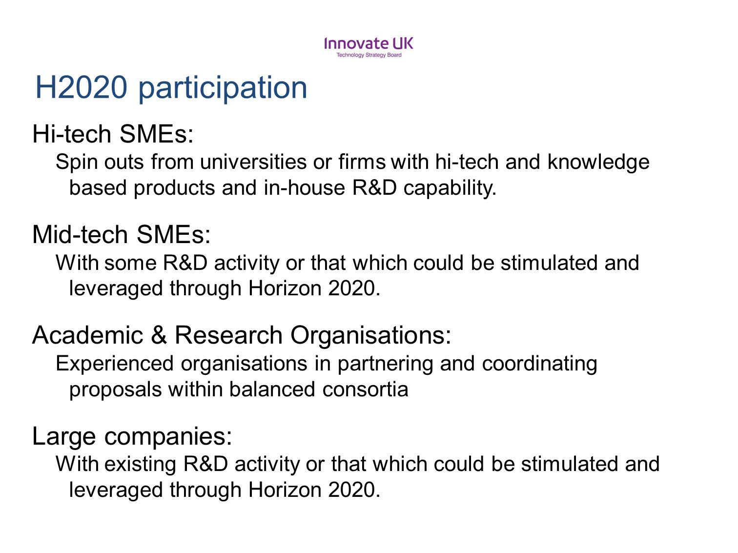 H2020 participation Hi-tech SMEs: Mid-tech SMEs:
