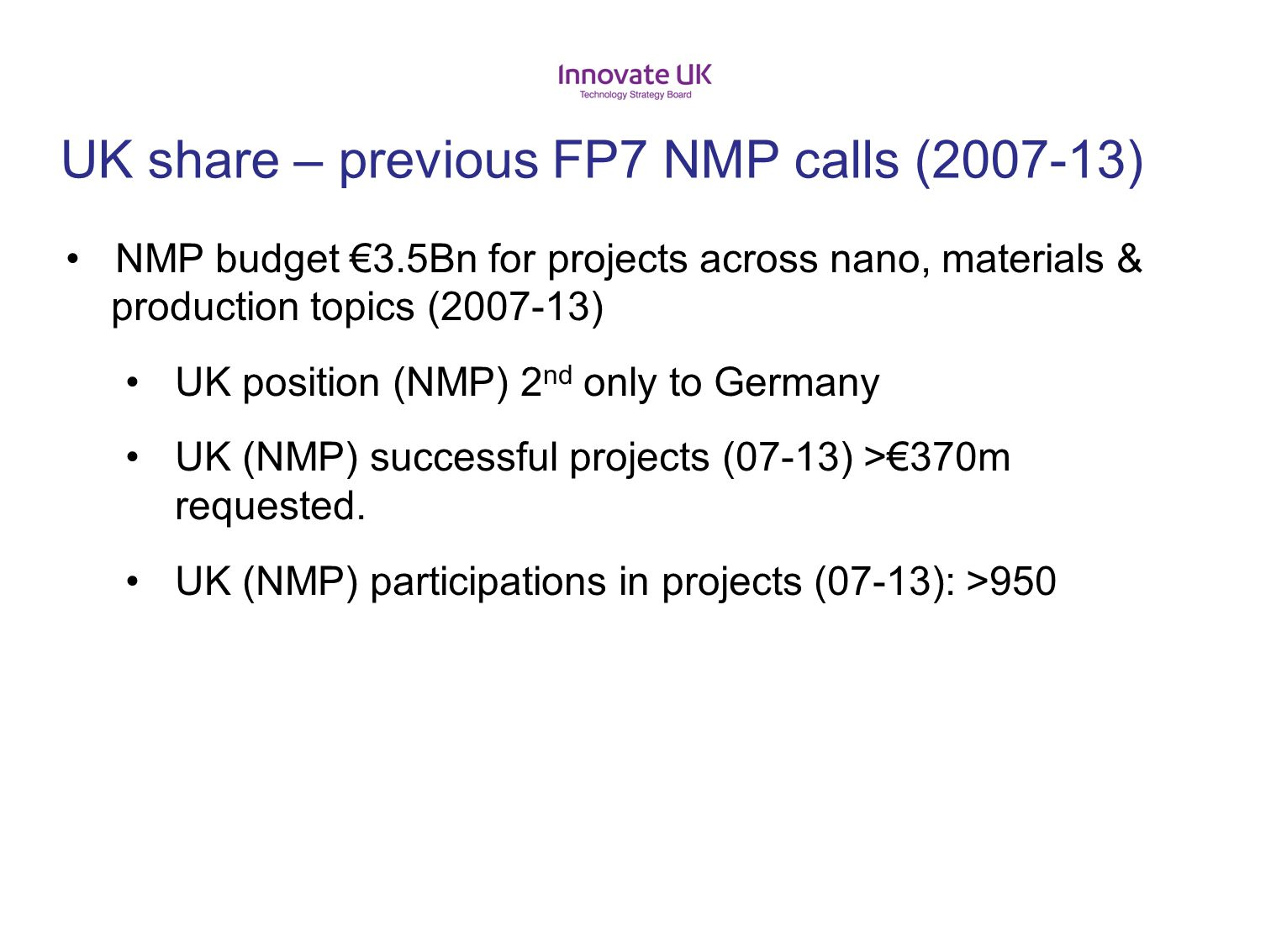 UK share – previous FP7 NMP calls (2007-13)