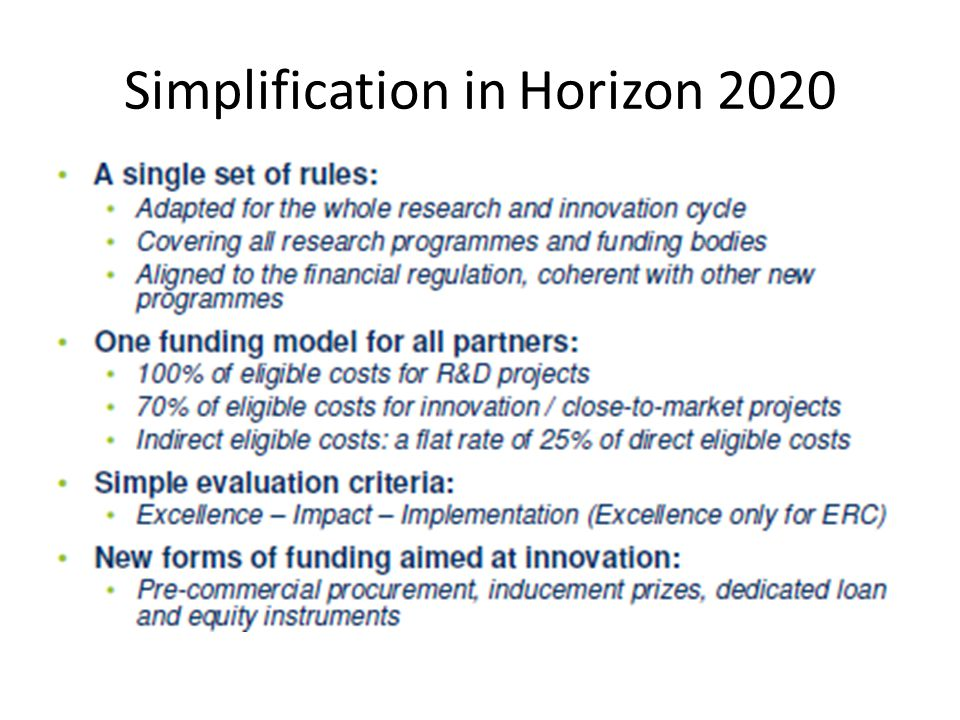 Simplification in Horizon 2020