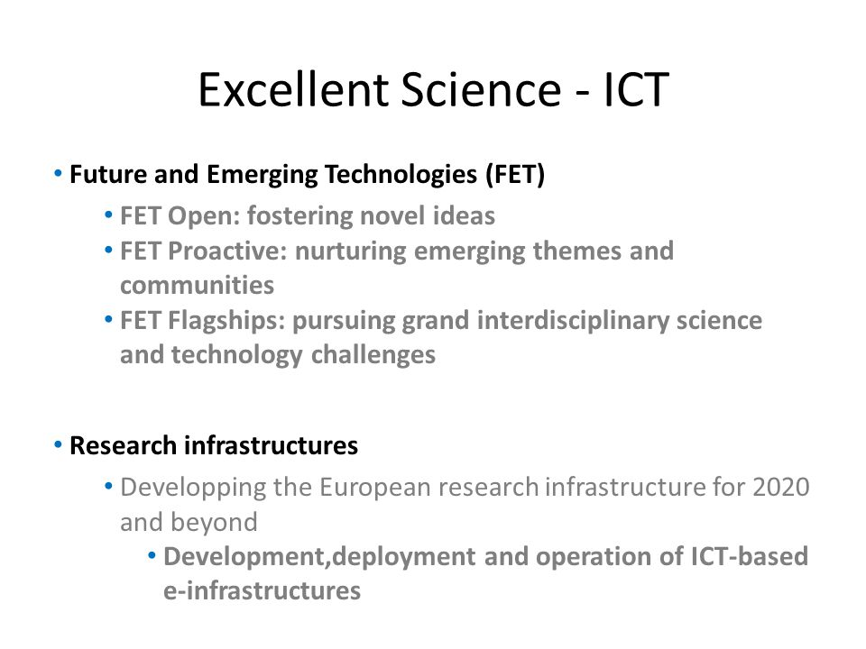 Excellent Science - ICT